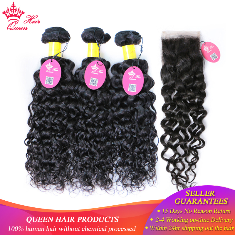 Queen Hair Products Peruvian Water Wave Lace Closure Remy Weft Hair Weave 3 Bundles Human Hair