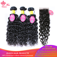 Queen Hair Products Peruvian Water Wave Lace Closure Remy Weft Hair Weave 3 Bundles Human Hair Bundles With Closure 4pcs/lot
