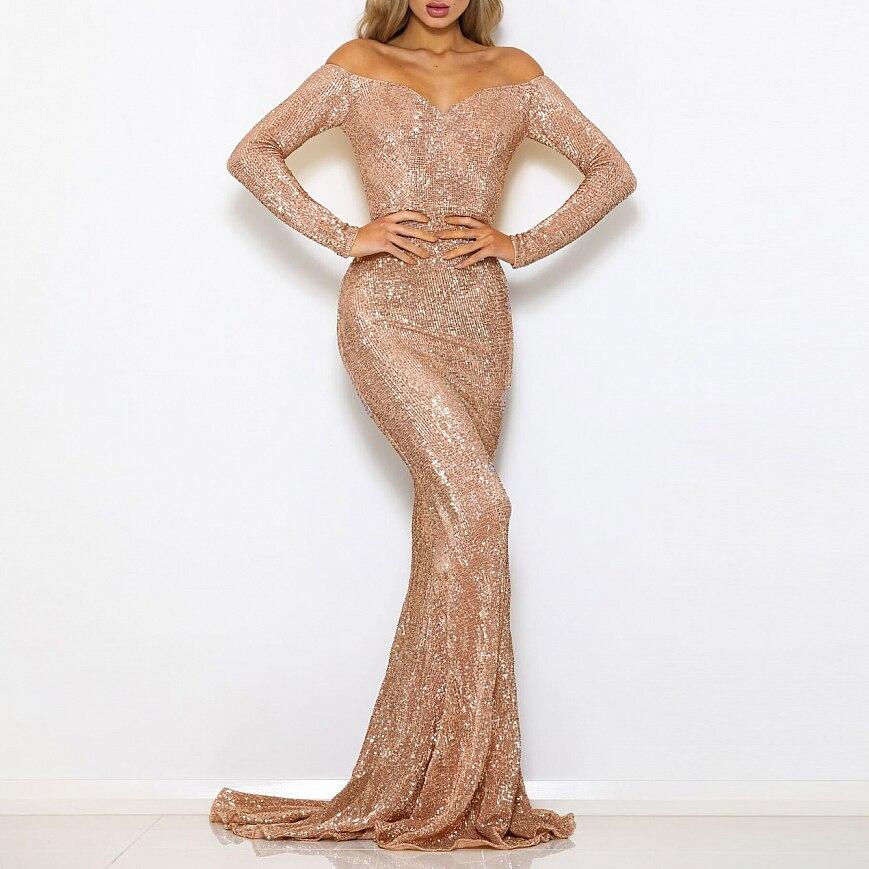 Sequined Maxi Dresses Floor Length Party Dress Sexy Slash Neck Off The Shoulder Sequin Dress Oversize