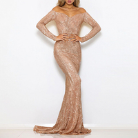 Sequined Evening Maxi Dresses Floor Length Party Dress Sexy Slash Neck Off The Shoulder Gown Sequin Dress Gown Oversize XL XXL