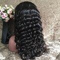 8А класс свободные глубокая волна полные парики шнурка естественно волосяного покрова волосы младенца толщиной 180% Плотность glueless человеческих волос полный шнурок парик