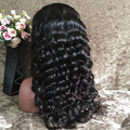 8A grado suelta la onda profunda pelucas llenas del cordón rayita natural grueso pelo del bebé 180% Densidad sin cola llena del cordón del pelo humano peluca
