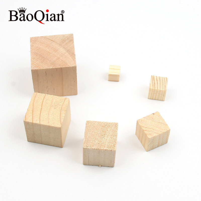 Natural Solid Wood Cube Square Blocks Wooden Kids Early Educational Toys Assemblage Block Embellishment DIY Woodwork Craf
