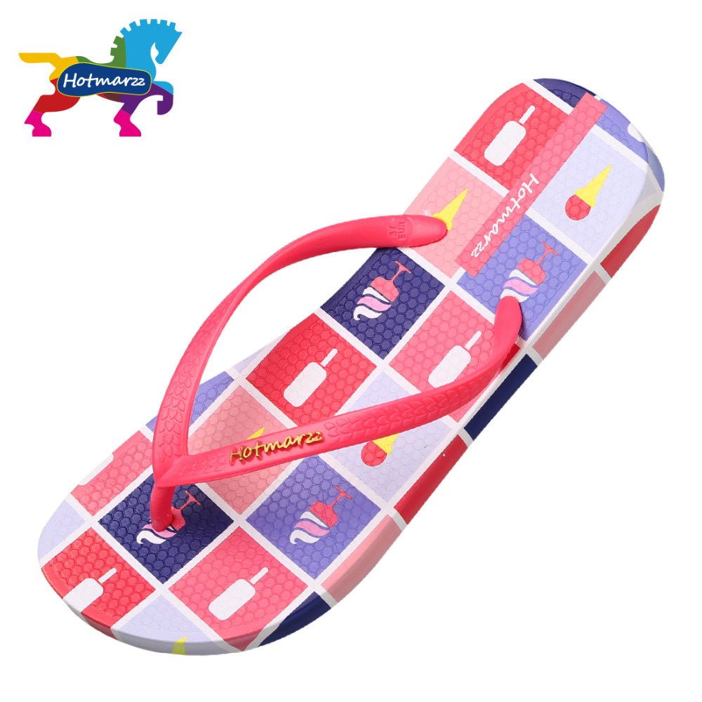 Hotmarzz Women Designer Flip Flops Fashion Slippers Summer House Shoes Beach Sandals Pantufa 2017 Ice Cream Bathroom Slippers
