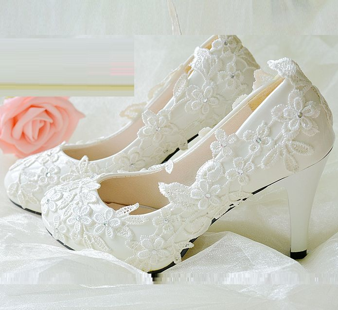 ФОТО High heel lace appliques wedding shoes ivory, 8.5cm heeled PR1856 delicate  woman's bridal shoe, brithday, evening party pumps