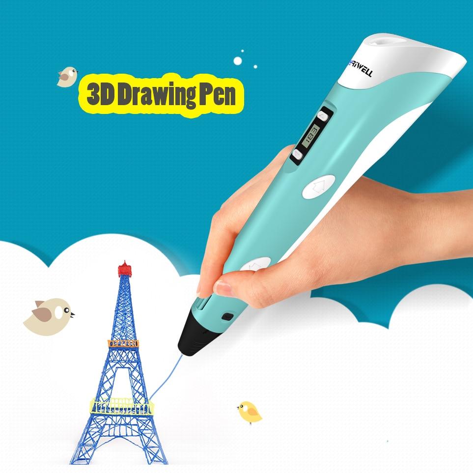 Myriwell 3D pluma LED 2nd generación 3D impresión pluma con 9 M ABS filamento artes DIY para los cabritos herramientas de dibujo