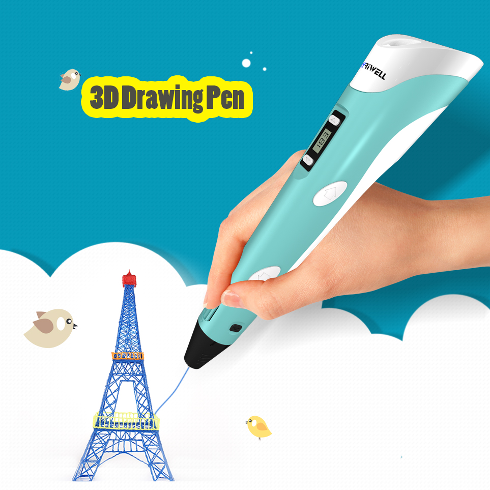 Myriwell 3D Stylo LED Affichage 2nd Génération 3D Impression Stylo Avec 9 m ABS Filament Arts DIY stylos Pour Enfants outils de dessin
