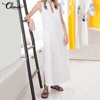 Celmia 2019 Summer Shirts Dress Casual Sexy V Neck Sleeveless Print Vest Dress Pleated Loose Split Hem Sundress Elegant Vestidos
