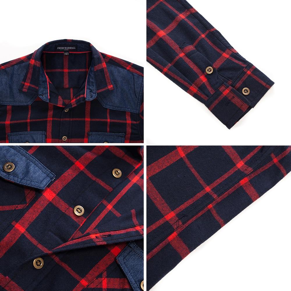 Image 4 - Fredd Marshall , 2018, осенняя клетчатая рубашка с двумя пуговицами и карманами, повседневная мужская рубашка с длинным рукавом и заплатками, обычная посадка размера плюс 172Повседневные рубашки   -