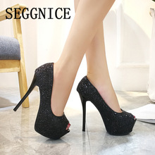 цена на Sexy Platform High Heel Bling Striptease Shoes Women's Night Club 12CM 14CM Sequin Peep Open Toe Black Party Ladies Shoes 2019