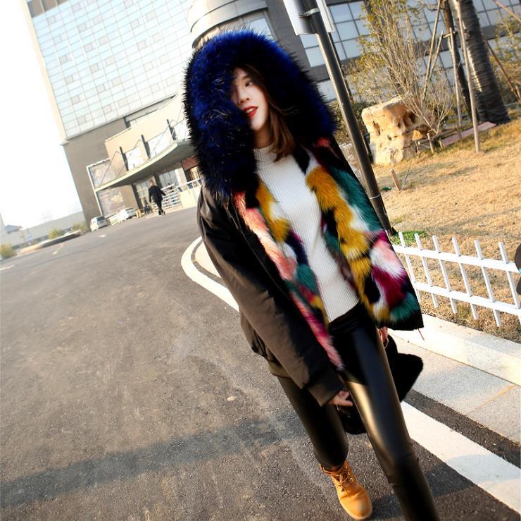 2018 Nieuwe Winter Koreaanse Faux Fur Vossenbont Hooded Korte Parka Jas Multicolor Zwart Parka Jassen Dikke Warme Vrouwen Jassen Gebruiksgoederen