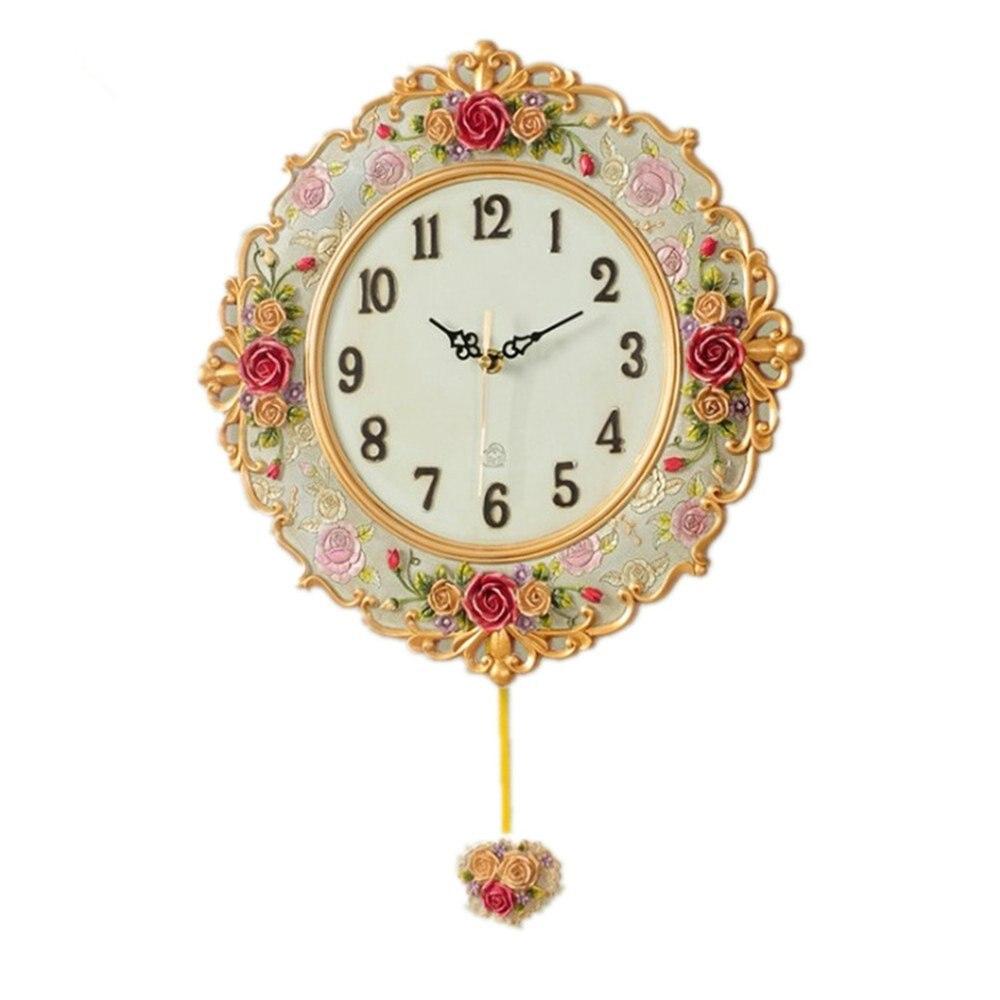 Novelty Rural Roses European Style Arts Quartz Clock Home Decoration Wall Clock
