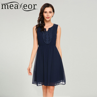 Meaneor Women Casual V Neck Sleeveless Elastic Waist Pullover Chiffon Dress