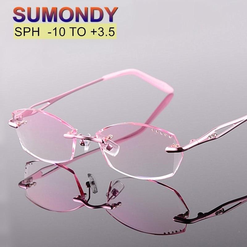 Dioptre -10 to +3.5 Myopia Presbyopia Rimless Prescription Glasses Women Upscale Gradient Optical Spectacles Customization UP001