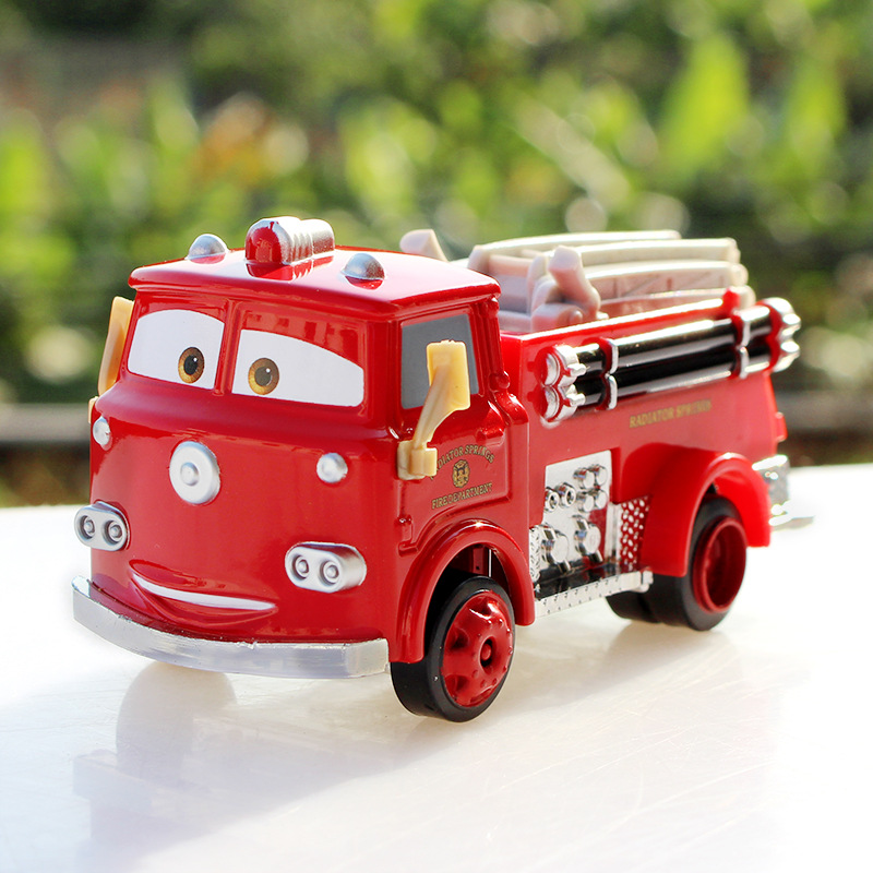 Hot Selling Pixar Cars Red Firetruck Deluxe Fire Truck Metal Toy Car Loose Diecast 1:55 for Kids Children Cartoon Model Car Toy