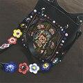 Женщины Строка вышивка Цветок Ведро Мешок Шнурок Сумки Crossbody Сумки Разноцветные бисера Сумка с Цветами Ремень