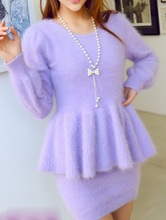 Genuine mink cashmere sweater women Plush pure mink sweaters pullovers sweater bag hip skirt suit free