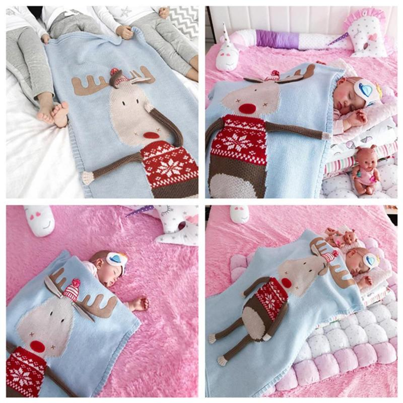 Baby Cute Knitted Blanket Kid Christmas Deer Print Towel Baby Throw Blankets Sofa Bed Car Beach Cushion Warm Children Bath Towel