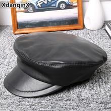 XdanqinX Genuine Leather Hat Autumn Winter Sheepskin Military Hats For Men Women Elegant Flat Cap Bone Tongue Caps Snapback