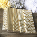 25pcs Pink Gold Striped Mixed Kids Birthday Wedding shimmer and shine party Decoration Event Supplies Drinking Paper Straws