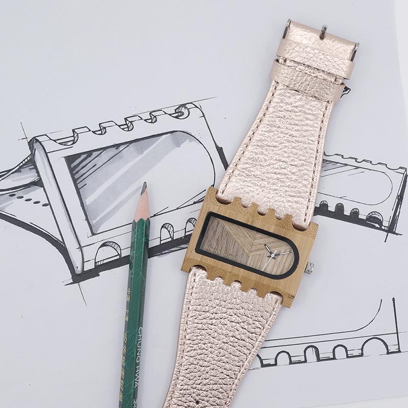 BOBO BIRD New Designer Wooden Watches Women with PU Leather Strap Quartz Watch (4)