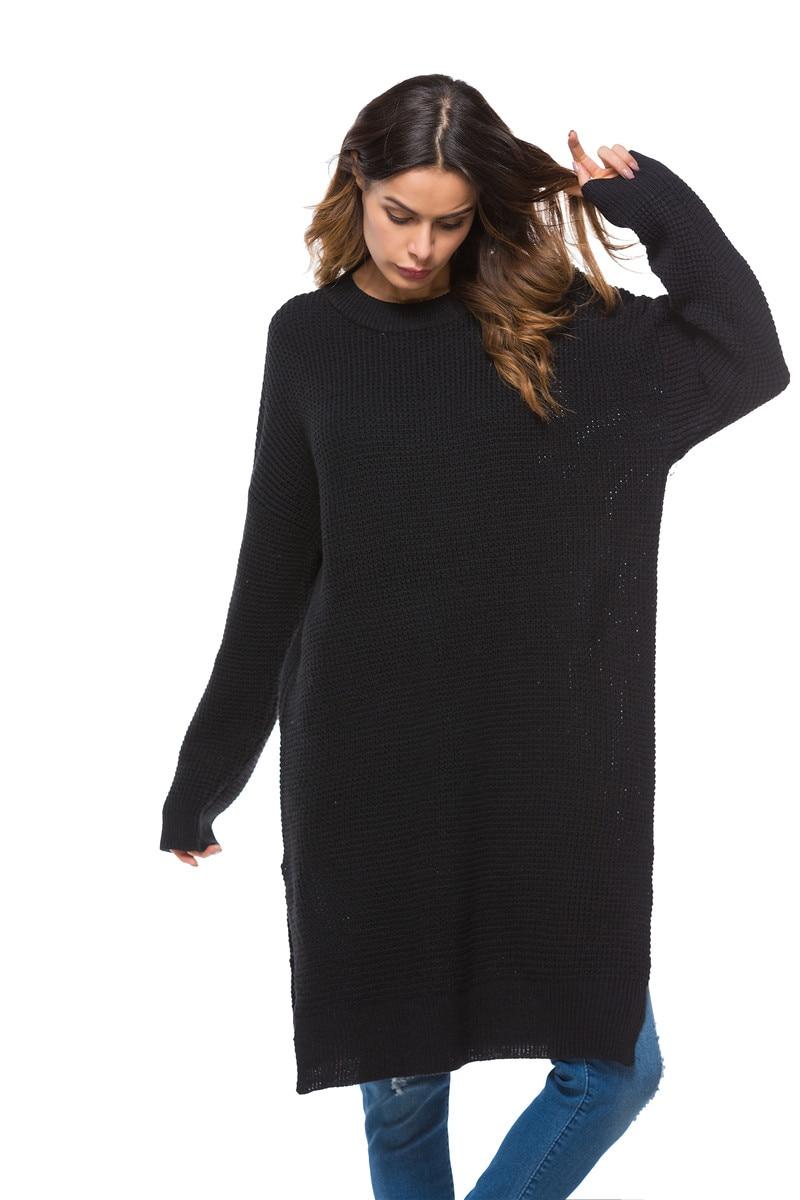 Fall Winter Vintage Mustard Side Slit Crochet Sweater Dress for Women Cute Ladies Retro Cosy Loose Split Pullover One Size 5
