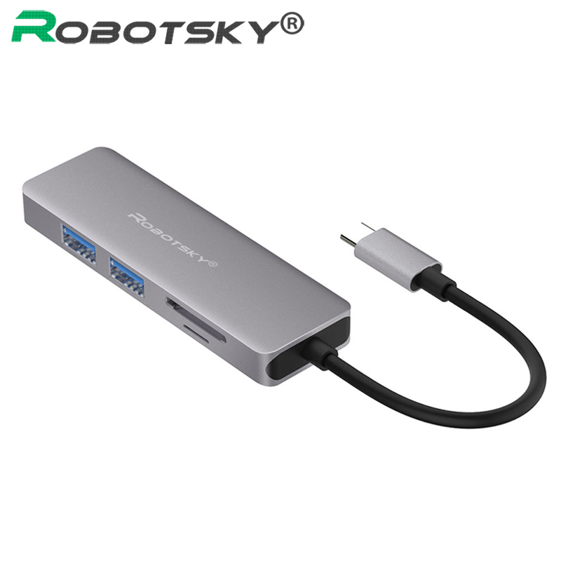 Robotsky USB-C to HDMI SD/TF Card Reader PD Charge HUB Adapter Converter for MacBook Samsung Galaxy S9/S8/S8+ Type C HUB USB 3.0 ugreen usb hub all in one usb c to hdmi vga card reader rj45 pd adapter for macbook samsung galaxy s9 s8 s8 type c hub usb 3 0