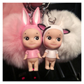 Fluffy Rabbit Fur Ball Pompom Keychain Bunny Doll   Keyring Fur Pompons Key Chain Chaveiro Small Bell Porte Clef Pompom Keychain