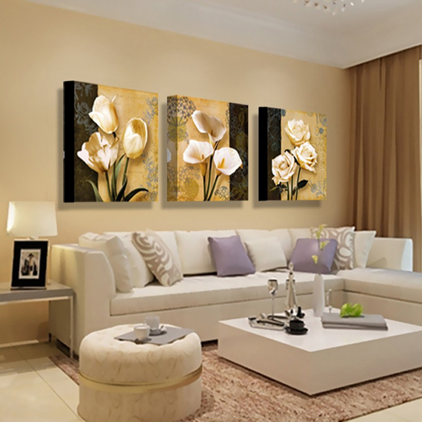 3 Pieces Beautiful Orchid Landscape Wall Art Poster Hd Print Canvas Oil Paintings For Living