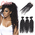 Coleen 7A Brazilian Virgin Hair With Closure 3 Bundles Brazilian Deep Wave With Closure Human Hair Bundles With Lace Closures