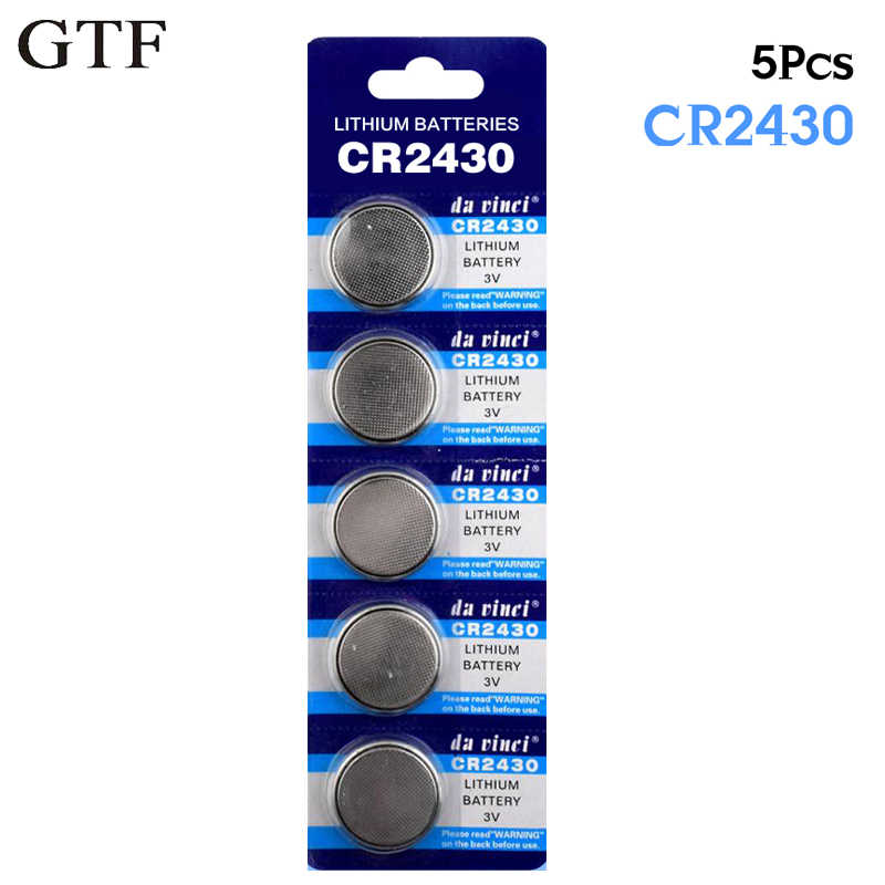 цена на GTF 5pcs/pack 3V CR2430 Button Battery ECR2430 DL2430 BR2430 KL2430 Cell Coin Lithium Battery For Watch Electronic RC Toy