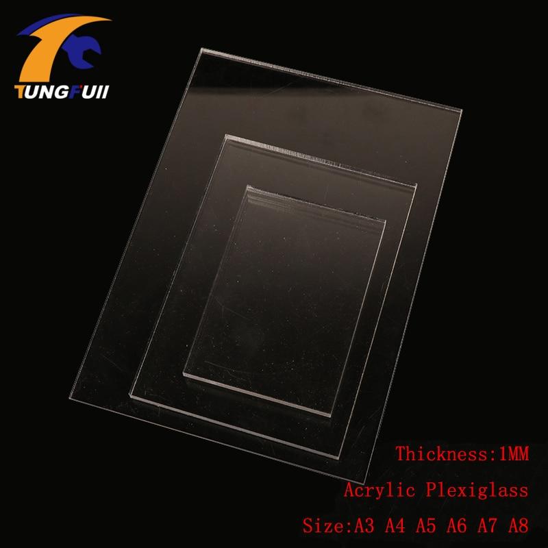 TUNGFULL A3 アクリルシート 1 ミリメートルプレキシガラス用の透明なプラスチックシートプラスト A4 A5 A6 A7 A8 圧力プレート粘土ツール -