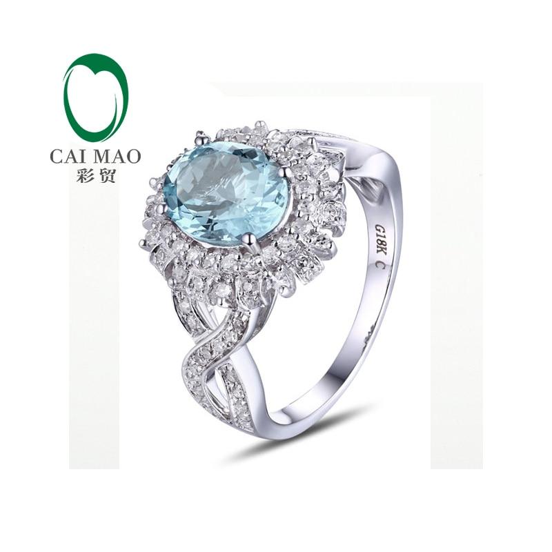 Unplated 14k/Au585 Gold Oval Cut Natural Diamonds & Aquamarine Fine Jewelry Resizable