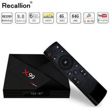 цена на RECALLION Android 9.0 Smart TV BOX RK3399 4G DDR3 64G EMMC ROM Set Top Box 4K 3D H.265 Wifi media player TV Receiver play store