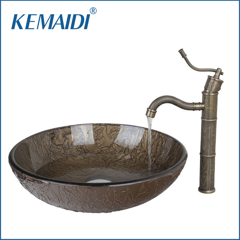 KEMAIDI New Hot Sale Popular Bathroom Basin Sink Vessel Tap Antique Brass Excellent Quality Lavatory Glass