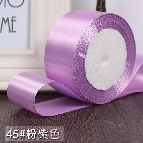 25 ярдов/рулон 6 мм, 10 мм, 15 мм, 20 мм, 25 мм, 40 мм, 50 мм, шелковые атласные ленты для рукоделия, швейная лента ручной работы, материалы для рукоделия, подарочная упаковка - Цвет: Pink purple