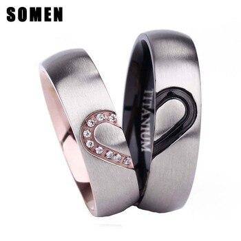 9e13bed9b2eb 2 piezas anillo Set para pareja 6mm titanio anillo cúbicos Zirconia amantes boda  Anillos De Compromiso promesa anillo Alianza anel