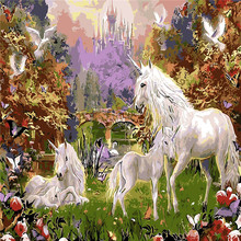 Unicorn Holy Land Oil Painting By Numbers DIY Abstract Digital Picture Coloring On Canvas Unique Gift Home Decor 2017