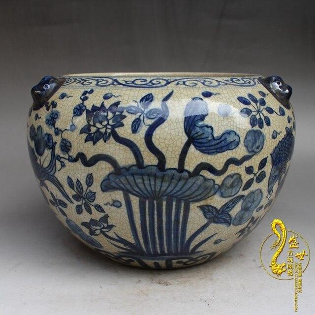 Jingdezhen blauen und weißen Ming dynastie keramik aquarium lotus ...