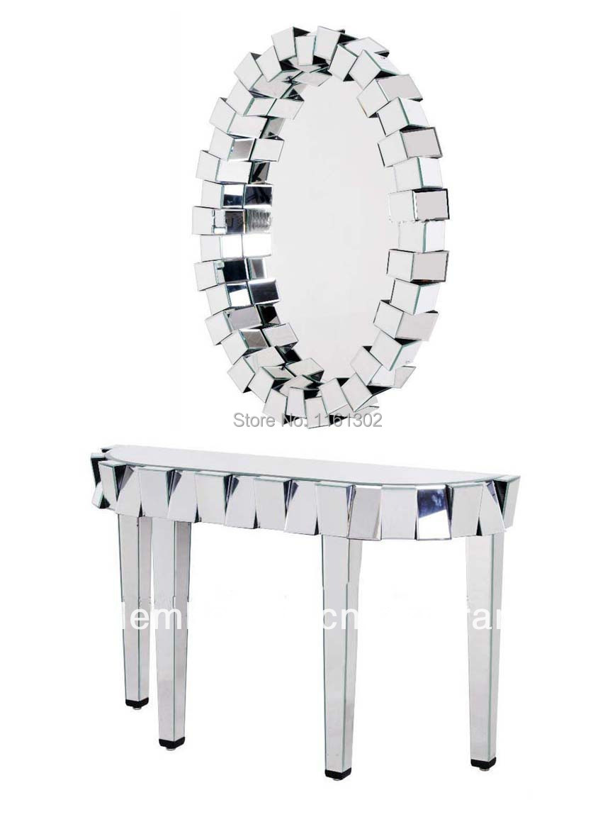 Beveled Mirror Furniture Design Console Table With 3D Oval