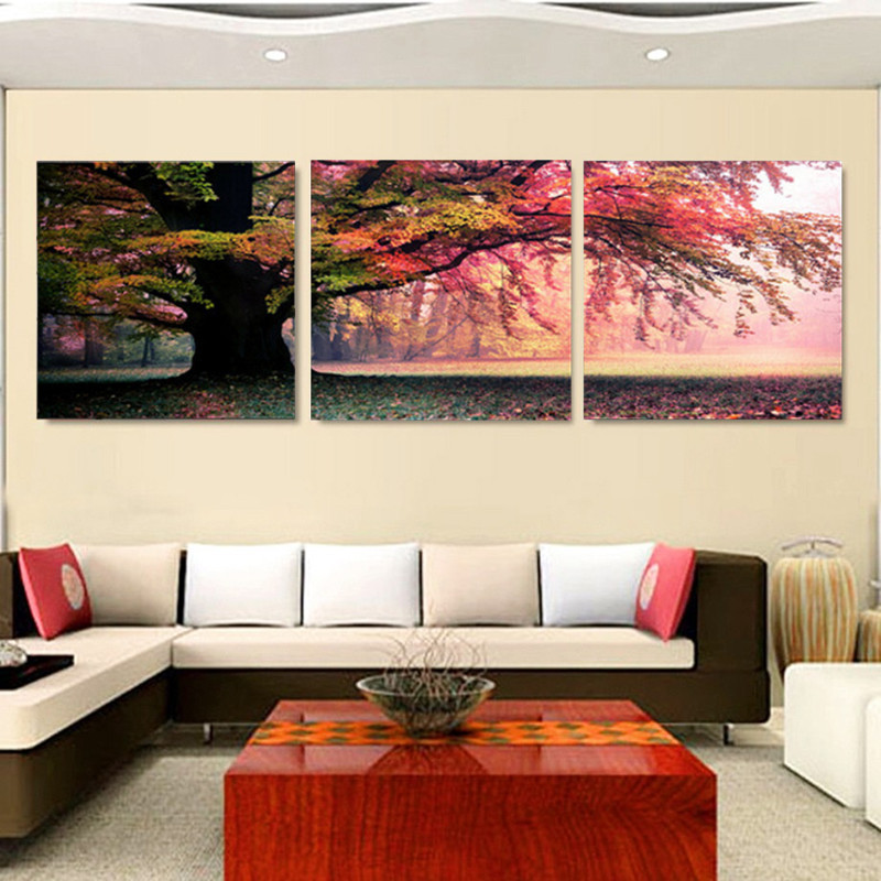 Fashion 3 Piece Wall Art Pictures Print On Canvas Landscape Canvas Painting For Living Room