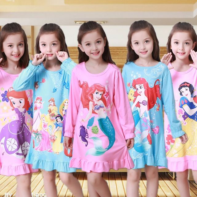 41e380493287 New 2018 Autumn Winter Fashion Princess Cartoon Long Dresses Kids Sleepwear  Cotton Children Nightgowns Lovely Girls Nightdress r