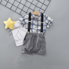 DIIMUU Children Clothes Boys Sets 2pcs Summer Plaid Cotton Shorts Sleeve Shirts Solid Short Suspender Pants Boy