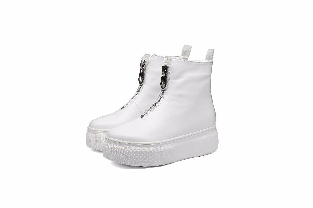 Automne Véritable Femmes Noir Lenkisen Rond Hiver 2018 Plate blanc L89 Cuir Fond Bout Haute Épais forme Cheville Bottes Zip Conception Originale En Gommage ZTz4wSWZn