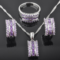 Fascinante Púrpura Piedra Zirconia de la Mujer 925 Pendientes de Plata de La Joyería/Colgante/Collar/Anillos Envío Gratis QZ056