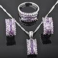 Fascinante Roxo Pedra mulher Zirconia 925 Sterling Silver Jewelry Sets Brincos/Pingente/Colar/Anéis Frete Grátis QZ056