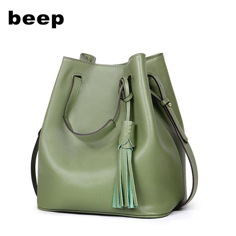 BEEP brand handbag 2018 new leather wild Messenger bag Shoulder bag women bag handbag Bucket bag stylish and simple bucket bag wild shoulder messenger bag