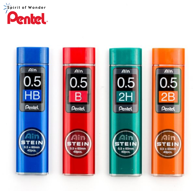 6 Tubes/Lot (40Pcs/Tube) Pentel 0.5mm Mechanical pencil refills B,2B,3B,4B,H,2H,HB pencil leads for school & office stationery image