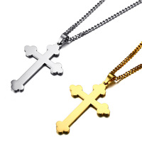 Long Chains Gold Silver Eastern Orthodox Cross Necklace Pendant Mens Jewelry 316L Steel Gold Crucifix Necklace