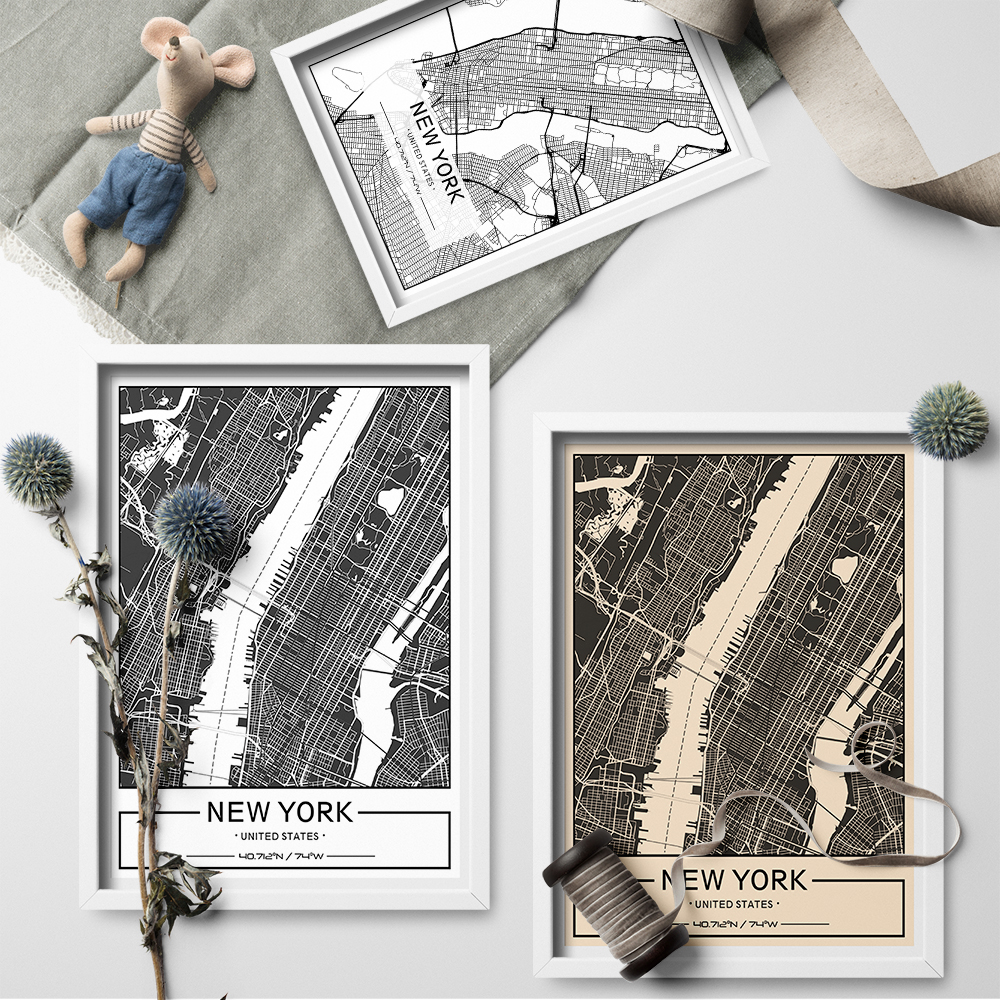 Custom City Map Custom Map Art Print Maps Of Cities Posters Canvas on